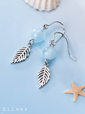 925 Sterling Silver With Glass Beads Vintage Leaf Drop Earrings