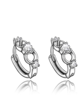 Exquisite Platinum Plated Geometric 4A Zircon Clip Earrings