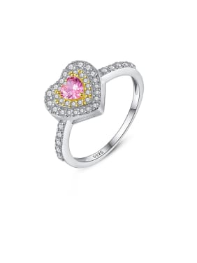 925 Sterling Silver With Platinum Plated Cute Heart Band Rings