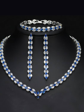 The Luxury Shine  High Quality Zircon Necklace Earrings bracelet 3 Piece jewelry set