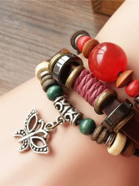 Multi-layer Star Shaped Red Bead Bracelet