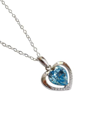 Fashion Heart shaped Zircon Silver Necklace