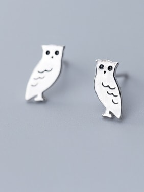 925 Sterling Silver With Platinum Plated Cute Owl Stud Earrings
