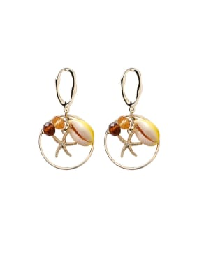 Alloy With Rose Gold Plated Bohemia Geometric Sea Star Drop Earrings