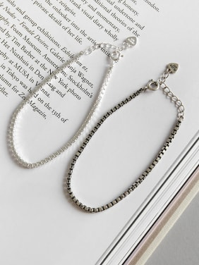 925 Sterling Silver With Antique Silver Plated Simplistic Box Chain Bracelets