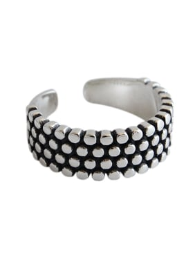 925 Sterling Silver With Antique Silver Plated Vintage Multiple rows beades   Free Size  Rings