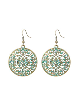 Personalized Antique Bronze Plated Hollow Round Exaggerated Earrings