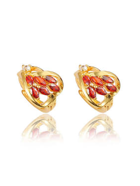 Red 18K Gold Plated Heart Shaped Zircon Clip Earrings