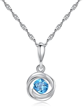 925 Sterling Silver With Fashion Round Necklaces