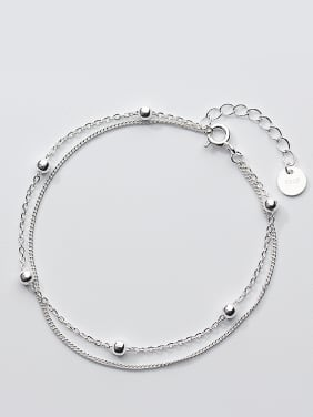 Fashion Double Layer Design S925 Silver Bracelet