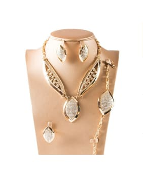 Oval Cubic Rhinestones Colorfast Four Pieces Jewelry Set