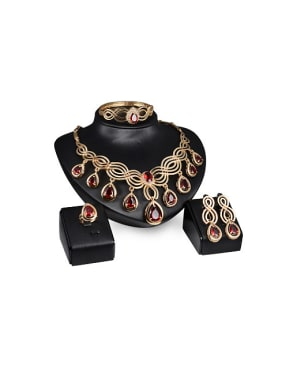 2018 Alloy Imitation-gold Plated Vintage style Artificial Gemstone Four Pieces Jewelry Set