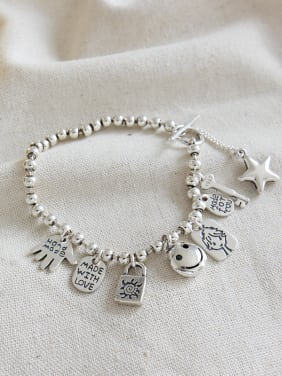 Sterling silver retro smiley doll lock key DIY string bracelet