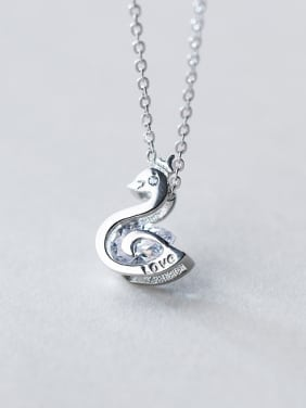 Lovely Swan Shaped Rhinestone S925 Silver Necklace