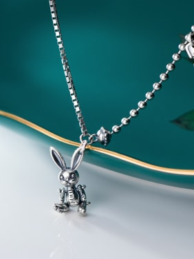925 Sterling Silver With Antique Silver Plated Cute Animal Rabbit Necklaces