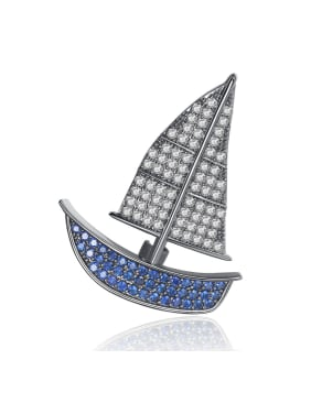 Copper inlaid AAA zircon personality small sailboat brooch