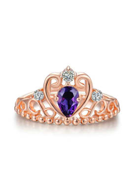 Crown shaped Classical Women Silver Opening Ring