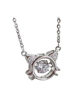 Fashion Cubic Zircon-studded Kittten Pendant Silver Necklace