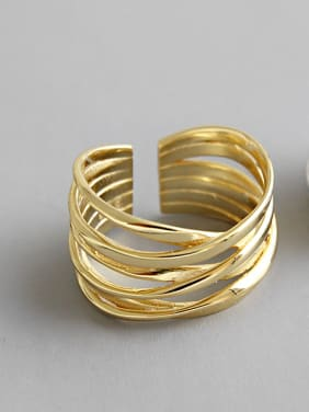 925 Sterling Silver With 18k Gold Plated Fashion Geometric Stacking Rings