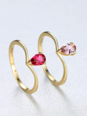 Sterling silver simple red powder semi-precious stone ring
