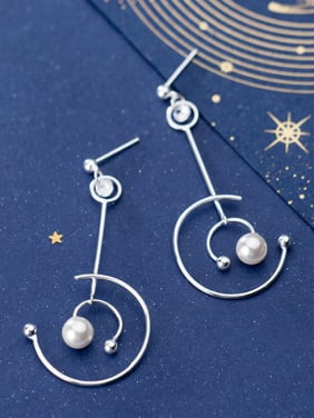 925 Sterling Silver With Artificial Pearl Fashion Round Drop Earrings
