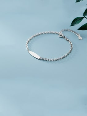 925 Sterling Silver With Platinum Plated Simplistic Oval Bracelets