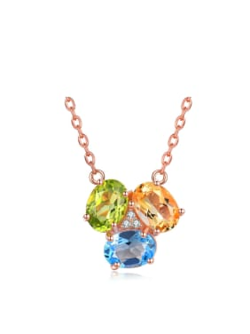 Three Color Topaz Rose Gold Plated Silver Necklace