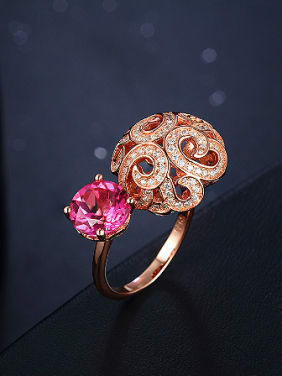 Classical Rose Gold Topaz Gemstone Cocktail Ring