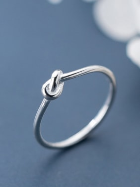 925 Sterling Silver With Platinum Plated Simplistic Irregular Tie Free Size Tail Ring