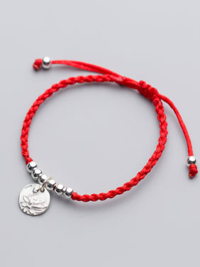 Sterling silver round lotus hand-woven red thread bracelet