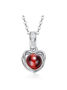 Fashion Hollow Heart Red Garnet Bead 925 Silver Pendant