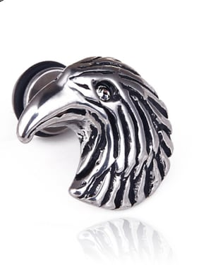 Stainless Steel With Antique Silver Plated Trendy Animal eagle Stud Earrings