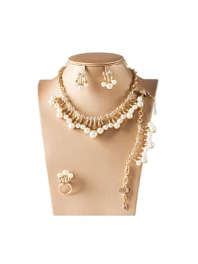 2018 Artificial Pearl Rhinestones Four Pieces Jewelry Set