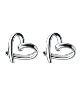 925 Sterling Silver With Platinum Plated Fashion Heart Stud Earrings