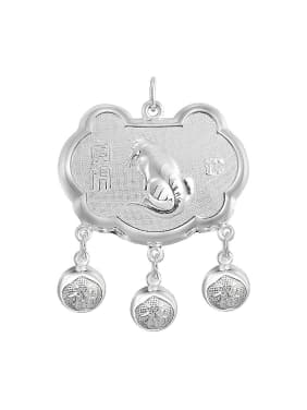 Ethnic style 999 Silver Zodiac Tiger Children Bells Longevity Lock Pendant
