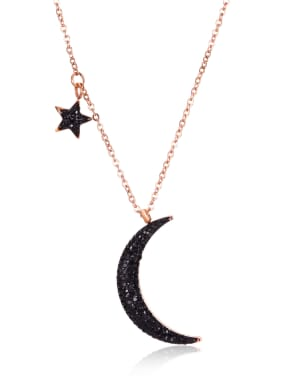 Stainless Steel With black Rhinestone Trendy Moon star Necklaces