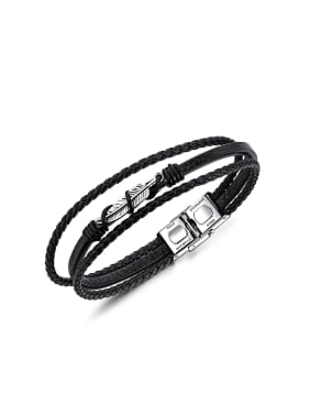 Fashion Little Feather Artificial Leather Woven Bracelet