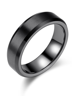 Stainless Steel With Black Gun Plated Simplistic Geometric Rings