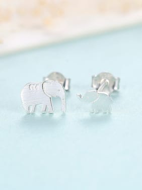 925 Sterling Silver With Glossy  Cartoon elephant   Stud Earrings