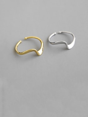925 Sterling Silver With Smooth Simplistic Irregular Free Size Rings