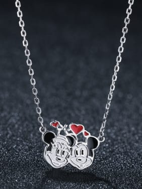 S925 Sterling Sliver  With Platinum Plated Cute Mickey  Necklaces