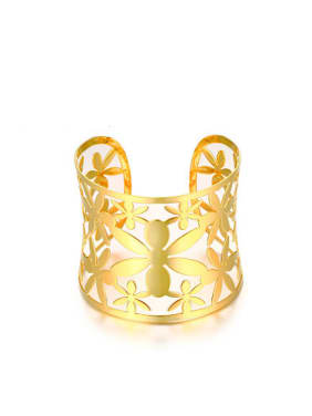 Exquisite Gold Plated Open Design Flower Shaped Titanium Bangle