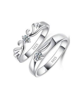 925 Sterling Silver With  Cubic Zirconia Simplistic Monogrammed loves  Band Rings