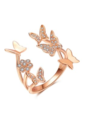 Copper With 18k Rose Gold Plated Fashion Butterfly Statement Rings