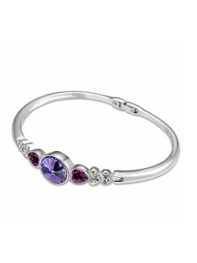 Simple Cubic Swarovski Crystals Alloy Bangle