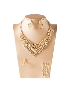 18K Exaggerated Rhinestones Colorfast Four Pieces Jewelry Set