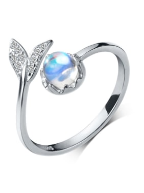 925 Sterling Silver With Platinum Plated Cute Mermaid tail free size Rings