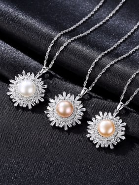 Sterling silver snowflake, 7-8mm natural freshwater pearl necklace