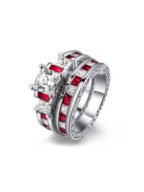 Luxury Ruby White Gold Plated Ring