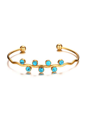 Fresh Gold Plated Letter C Shaped Turquoise Bangle